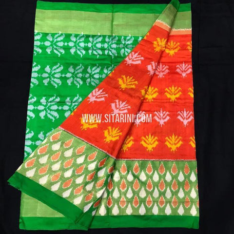 Ikkat pattu Saree-Orange-Sitarini-SITIPS572