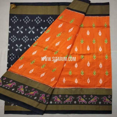 Ikkat Pattu Saree-Orange-Sitarini-SITIPS624