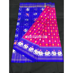 Ikkat Pattu Saree-Pink and Blue-Sitarini-PGMHIPS243