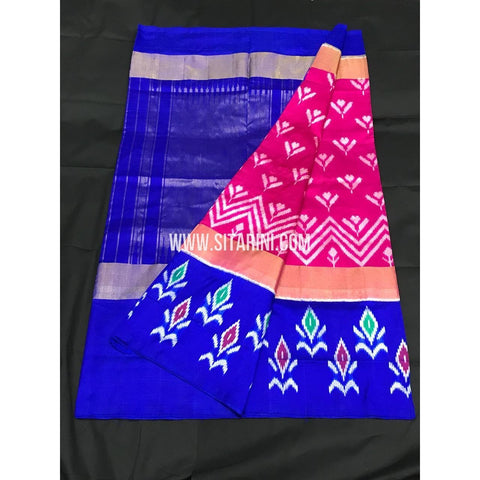 Ikkat Pattu Saree-Pink and Blue-Sitarini-PGMHIPS264