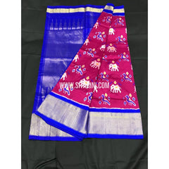 Ikkat Pattu Saree-Pink and Blue-Sitarini-SITIPS172