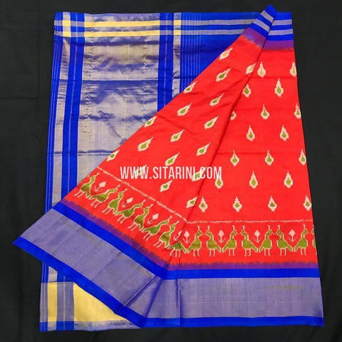 Ikkat pattu Saree-Red-Sitarini-SITIPS557