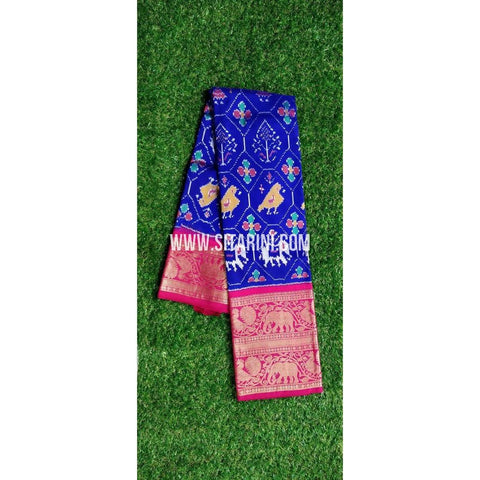Ikkat Pattu Saree-Royal Blue and Magenta-PRHIKPS104