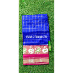 Ikkat Pattu Saree-Special Zari Border-Royal Blue-Sitarini-PRHIPS267
