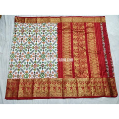 Ikkat Pattu Saree with Kanchi Border-Cream and Red-Sitarini-PSHIPS185