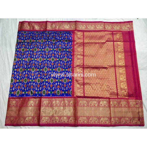 Ikkat Pattu Saree with Kanchi Border-Pink and Royal Blue-Sitarini-PSHIPS115