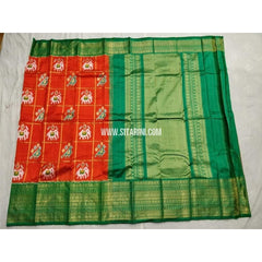Ikkat Pattu Saree with Kanchi Border-Red and Green-Sitarini-PSHIPS184