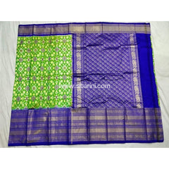 Ikkat Pattu Saree with Kanchi Border-Royal Blue and Green-Sitarini-PSHIPS114