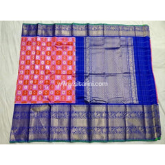 Ikkat Pattu Saree with Kanchi Border-Royal Blue and Light Pink-Sitarini-PSHIPS111
