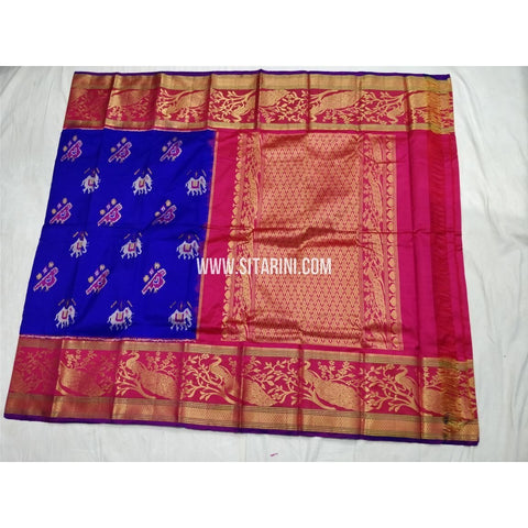 Ikkat Pattu Saree with Kanchi Border-Royal Blue and Magenta-Sitarini-PSHIPS295
