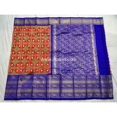 Ikkat Pattu Saree with Kanchi Border-Royal Blue and Red-Sitarini-PSHIPS110