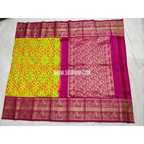 Ikkat Pattu Saree with Kanchi Border-Yellow and Magenta-Sitarini-PSHIPS294