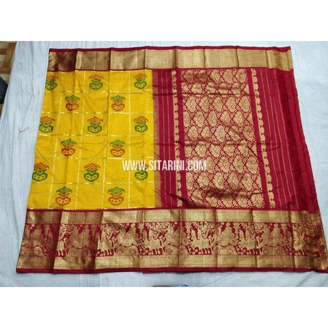 Ikkat Pattu Saree with Kanchi Border-Yellow and Red-Sitarini-PSHIPS182