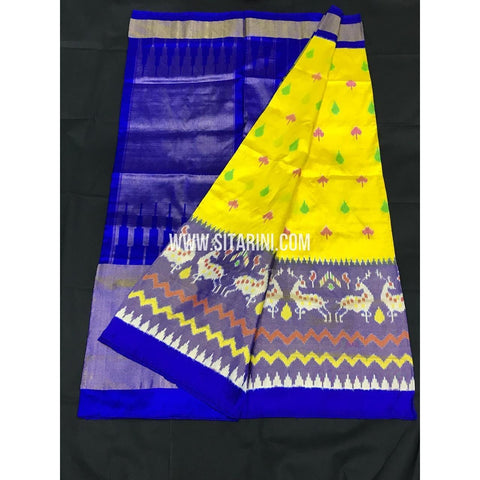 Ikkat Pattu Saree-Yellow and Blue-Sitarini-PGMHIPS260