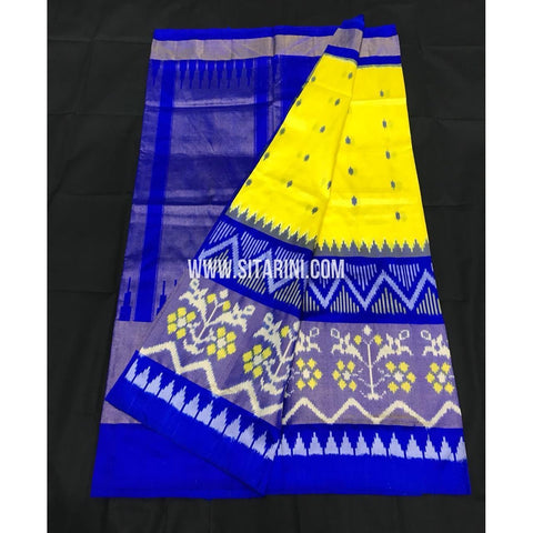 Ikkat Pattu Saree-Yellow and Blue-Sitarini-PGMHIPS261