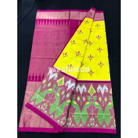 Ikkat Pattu Saree-Yellow and Pink-Sitarini-PGMHIPS207