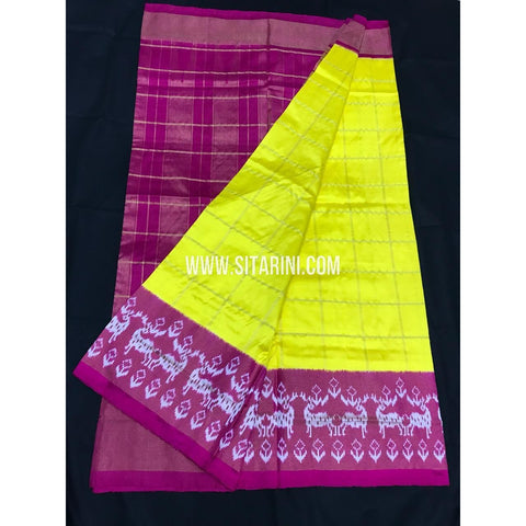 Ikkat Pattu Saree-Yellow and Pink-Sitarini-PGMHIPS259