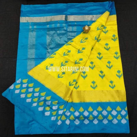Ikkat Pattu Saree-Yellow-Sitarini-SITIPS586