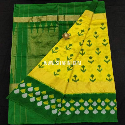 Ikkat Pattu Saree-Yellow-Sitarini-SITIPS588