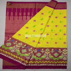Ikkat Pattu Saree-Yellow-Sitarini-SITIPS616