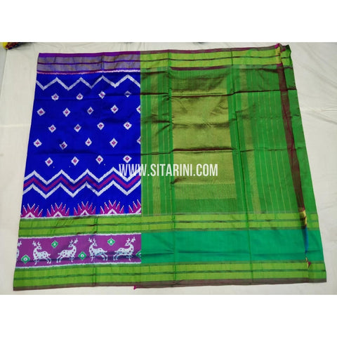 Ikkat Pattu Sarees-Blue and Green-Sitarini-PSHIPS355