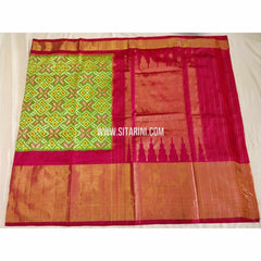 Ikkat Pattu Sarees-Green and Dark Pink-Sitarini-PSHIPS322
