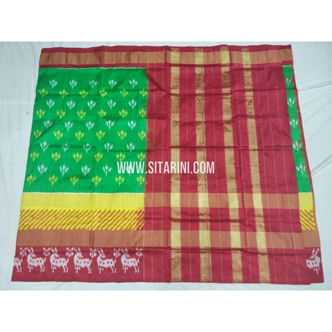 Ikkat Pattu Sarees-Green and Red-Sitarini-PSHIPS364