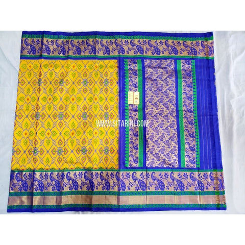 Ikkat Pattu Sarees-Kanchi Border-Yellow and Blue-Sitarini-PRHIPS228