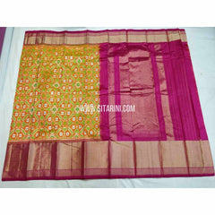 Ikkat Pattu Sarees-Mustard Yellow and Magenta-Sitarini-PSHIPS318