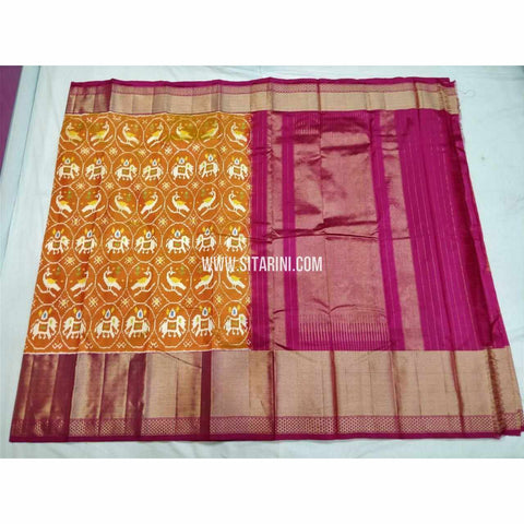Ikkat Pattu Sarees-Mustard Yellow and Magenta-Sitarini-PSHIPS320