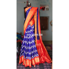 Ikkat Pattu Sarees Online-Royal Blue and Orange-PRHIPS138