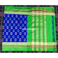 Ikkat Pattu Sarees Online-Royal Blue and Parrot Green-PRHIPS140