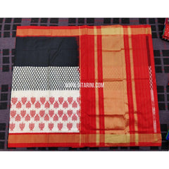 Ikkat Pattu Sarees Online-White and Red-PRHIPS139