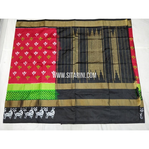 Ikkat Pattu Sarees-Red and Black-Sitarini-PSHIPS359