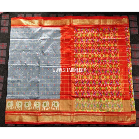 Ikkat Pattu Sarees-Special Zari Border-Grey and Red-PRHIPS242