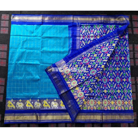 Ikkat Pattu Sarees-Special Zari Border-Light Blue and Blue-PRHIPS235