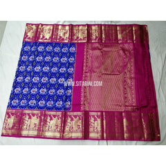 Ikkat Pattu Sarees with Kanchi Border-Royal Blue and Pink-Sitarini-PSHIPS315