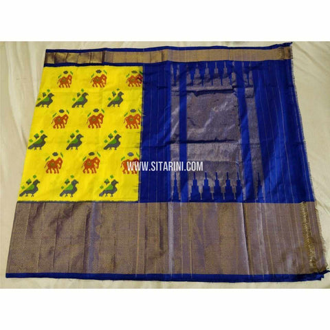 Ikkat Pattu Sarees-Yellow and Royal Blue-Sitarini-PSHIPS326