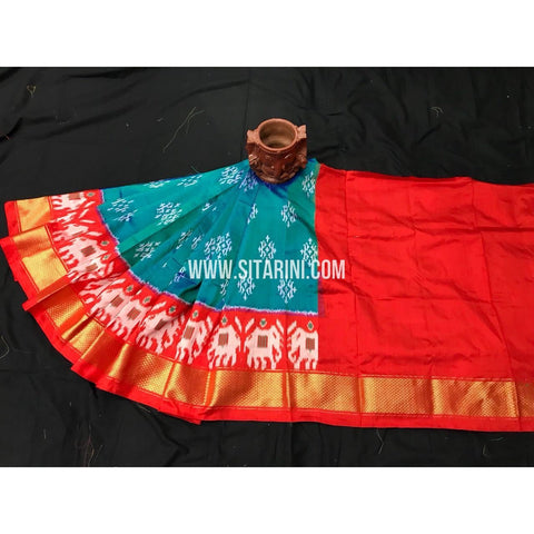 Ikkat Red Lehengas-Pattu-0 to 3 Years-Sitarini-PGMHIPLK257