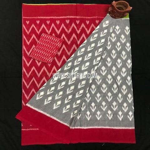 Ikkat Saree-Cotton-Multicolor-Sitarini-SITICS369