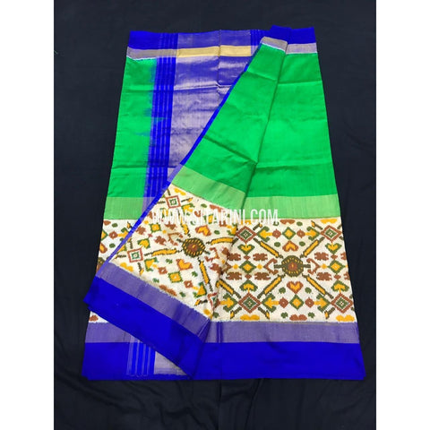 Ikkat Saree-Green and Blue-Sitarini-SITIPS145