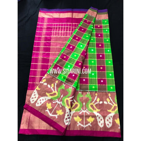 Ikkat Saree-Green and Pink-Sitarini-SITIPS138