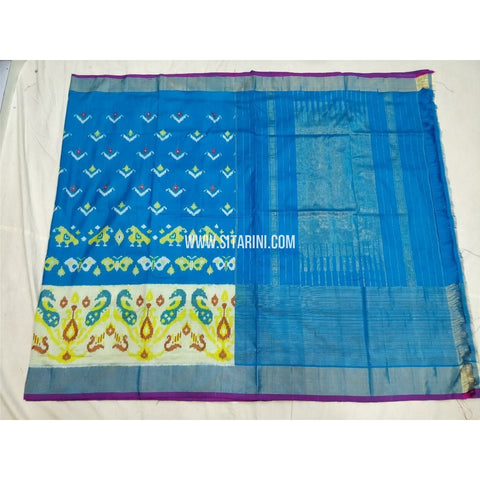 Ikkat Saree-Light Blue and White-Sitarini-PSHIPS306