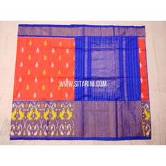 Ikkat Saree-Orqnge and Royal Blue-Sitarini-PVHIPS101