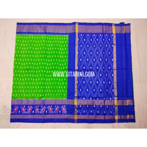 Ikkat Saree-Parrot Green and Royal Blue-Sitarini-PVHIPS104