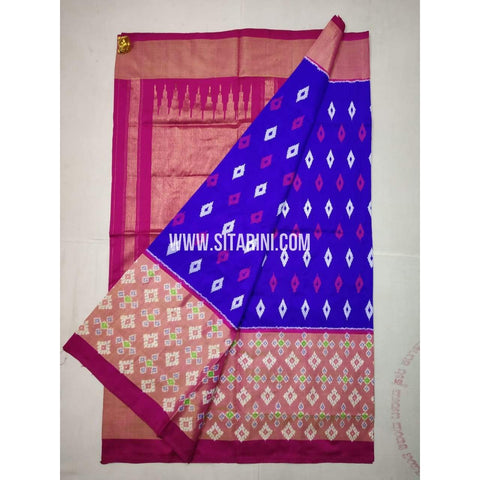 Ikkat Saree-Pattu-Blue and Pink-Sitarini-SITIPS215