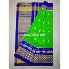 Ikkat Saree-Pattu-Green and Blue-Sitarini-SITIPS219