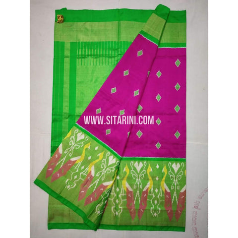 Ikkat Saree-Pattu-Parrot Green and Pink-Sitarini-SITIPS202