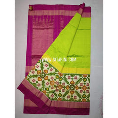 Ikkat Saree-Pattu-Yellow and Pink-Sitarini-SITIPS218