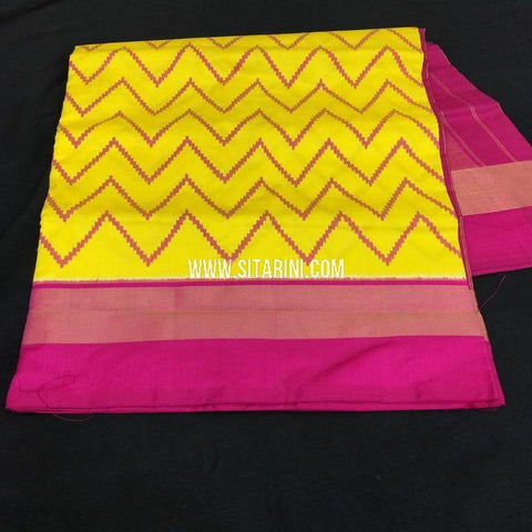 Ikkat Saree-Pattu-Yellow-Sitarini-SITIPS736